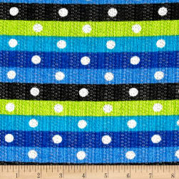 Sweater Knit Horizontal Stripped Dots Blue/Turquoise/Lime