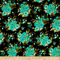 Crepe Turquoise Bouquet on Black Fabric