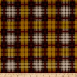 Crepe de Chine Checkered Mustard / Brown Fabric