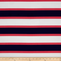 Faille Multi Stripes Coral/Ivory/Navy Fabric