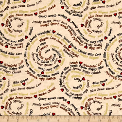 Forever Yours Metallic Word Swirl Cream Fabric