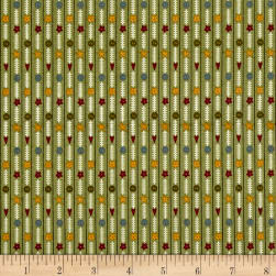Bless This Home Novelty Stripe Green Fabric