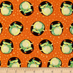 Woodsy Wonders Owls In Circles Orange Fabric
