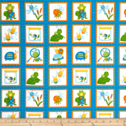 Bugs Flannel Bugs In Squares Blue Fabric