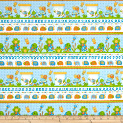 Bugs Flannel Novelty Stripe Blue Fabric
