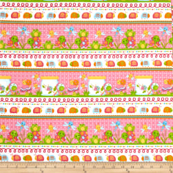 Bugs Flannel Novelty Stripe Pink Fabric