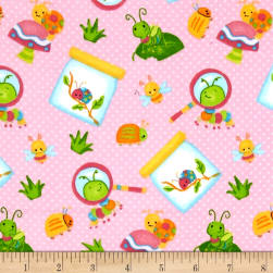 Bugs Flannel Tossed Bugs Pink Fabric