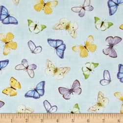 Pretty As A Pansy Tossed Butterflies Light Blue