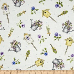 Pretty As A Pansy Tossed Garden Motifs White