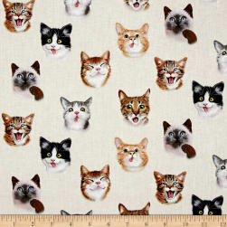 Pet Selfies Cats Cream Fabric