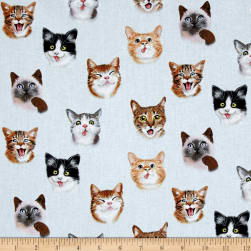 Pet Selfies Cats Blue Fabric
