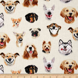 Pet Selfies Dogs Cream Fabric