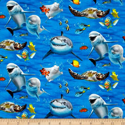 Ocean Selfies Allover Blue Fabric