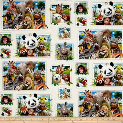 Zoo Selfies Patchwork Cream Fabric