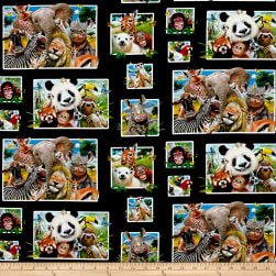 Zoo Selfies Patchwork Black Fabric