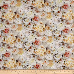 Rose Garden Digital Print Packed Roses White