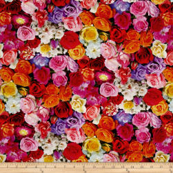 Rose Garden Digital Print Packed Roses Multi Fabric