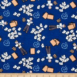 Alpine Flannel Amy Dots Blue Fabric