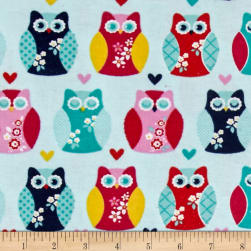 Alpine Flannel Owls And Hearts Aqua