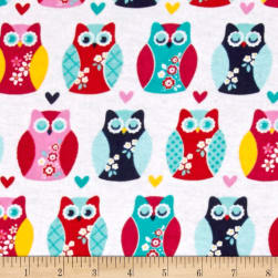Alpine Flannel Owls And Hearts Multi Fabric