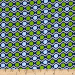 Alpine Flannel Dino Dot Green Fabric