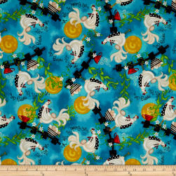 Up With The Sun Roosters Blue Fabric