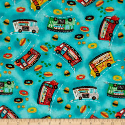 Food Truck Friday Tossed Blue Fabric