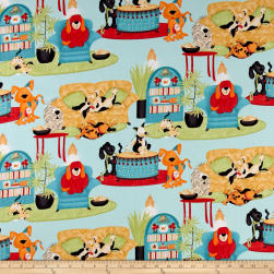 House Dogs Blue Fabric