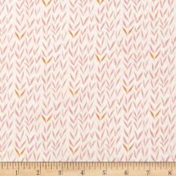 Woodland Gathering Organic Leaves Pink Fabric