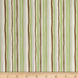 Woodland Gathering Organic Stripe Light Olive Fabric