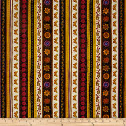 Spice Garden Repeating Stripe Brown Fabric