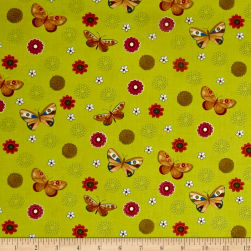 Spice Garden Medium Butterflies Light Olive Fabric