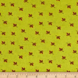 Spice Garden Leaves Light Olive Fabric