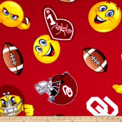 Collegiate Fleece University of Oklahoma Emojis Fabric
