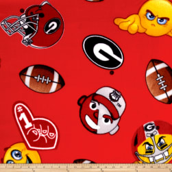 Collegiate Fleece University of Georgia Emojis Fabric