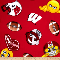 Collegiate Fleece University of Wisconsin Emojis Fabric