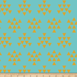 Bolt By Girl Charlee Pure Vintage Jersey Knit Triangle Arrows Turquoise / Mustard Fabric