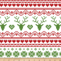 Bolt By Girl Charlee Jolly Holiday Jersey Knit Fairisle Deer Red/Green