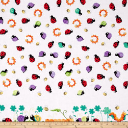 Susybee Leif the Caterpillar Border Print White Fabric