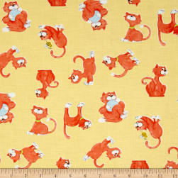 Susybee Purrl the Cat Tossed Cats Yellow Fabric