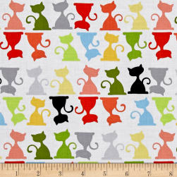 Susybee Purrl the Cat Silouettes White/Multi Fabric