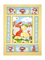 Susybee Purrl the Cat Panel Multi Fabric
