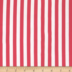 Blousewear Crepe Georgette Small Stripe Coral Red Fabric