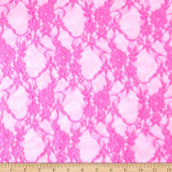 Stretch Lace Floral Neon Pink