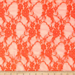 Stretch Lace Floral Bright Neon Orange Fabric