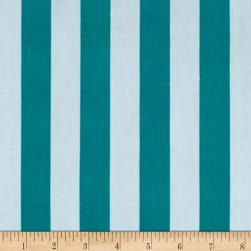 Stretch ITY Jersey Knit Classic Stripe Jade and White