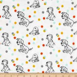 Disney Flannel 101 Dalmation Polka White Fabric