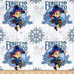 Disney Flannel Jake Fearless Captain White Fabric