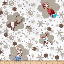 Disney Flannel Frozen Snowflakes White