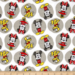 Disney Flannel Mickey Minnie Pluto White Fabric